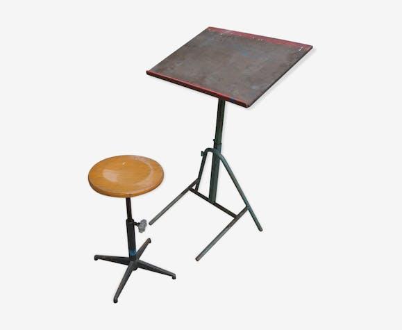 table dessin d 39 cole et son tabouret industriel m tal et. Black Bedroom Furniture Sets. Home Design Ideas