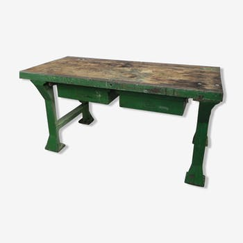 Industrial beech workbench on cast iron legs