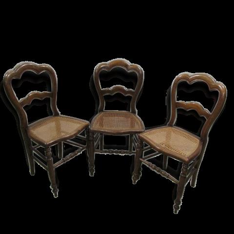 Série de 3 chaises Louis Philippe , cannées