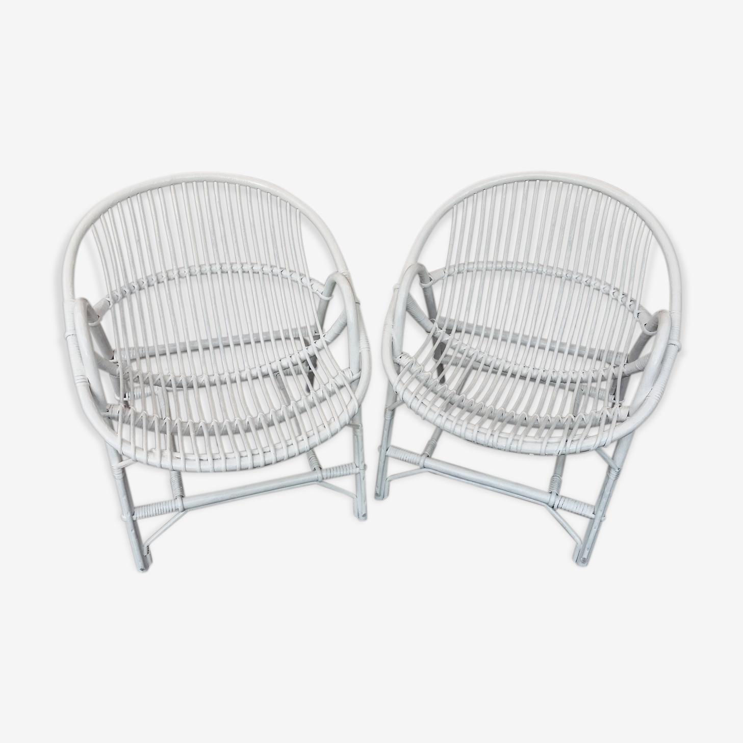 Paire de fauteuils en rotin blanc
