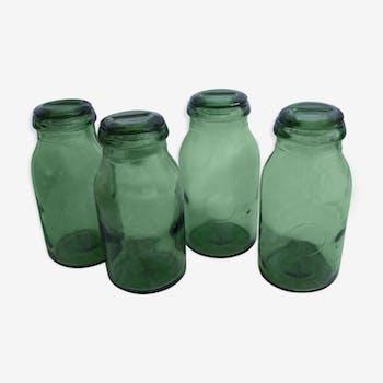 4 bocaux d'épicerie en verre vert vintage années 60
