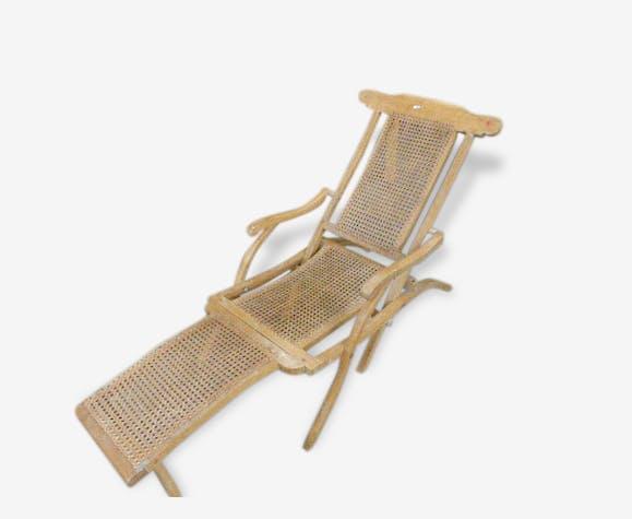 Chaise Longue Pliante Art Deco En Bois Cannee