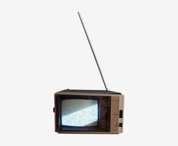 Mini black and grey portable tv that lights up