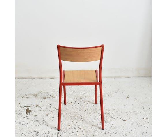 Lot de 4 chaises Mullca école française rouge