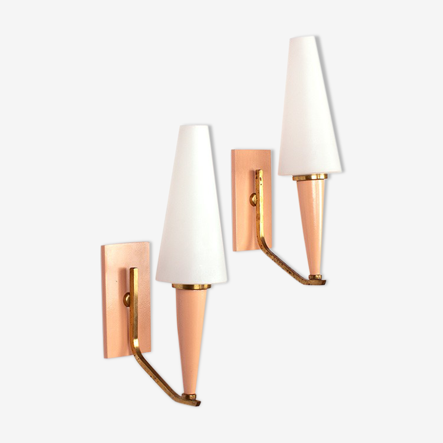 Vintage set of nude pink wall lamps with opaline glass and brass, 60's