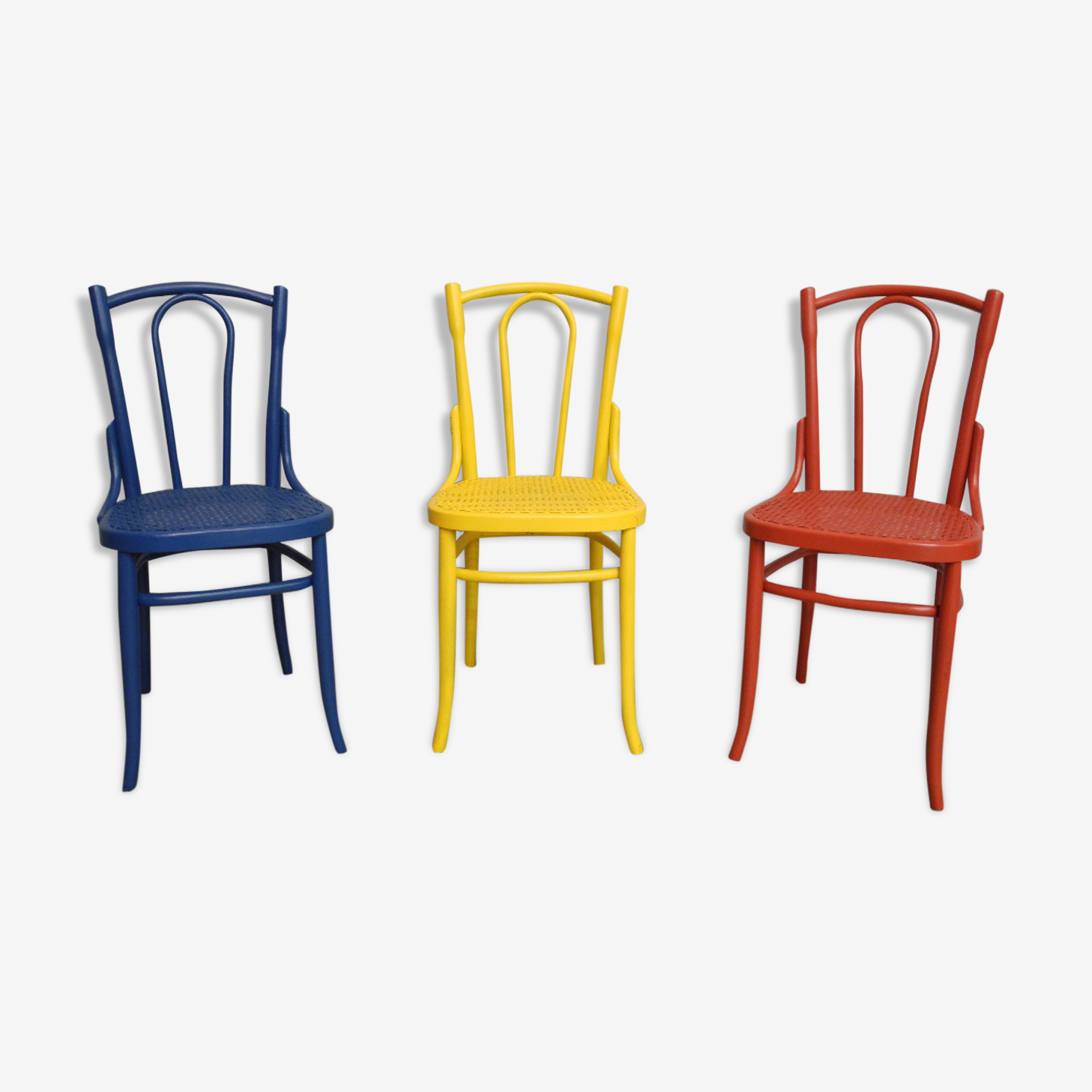 Set of 3 old Japy Frères wooden chairs from 1940/1950