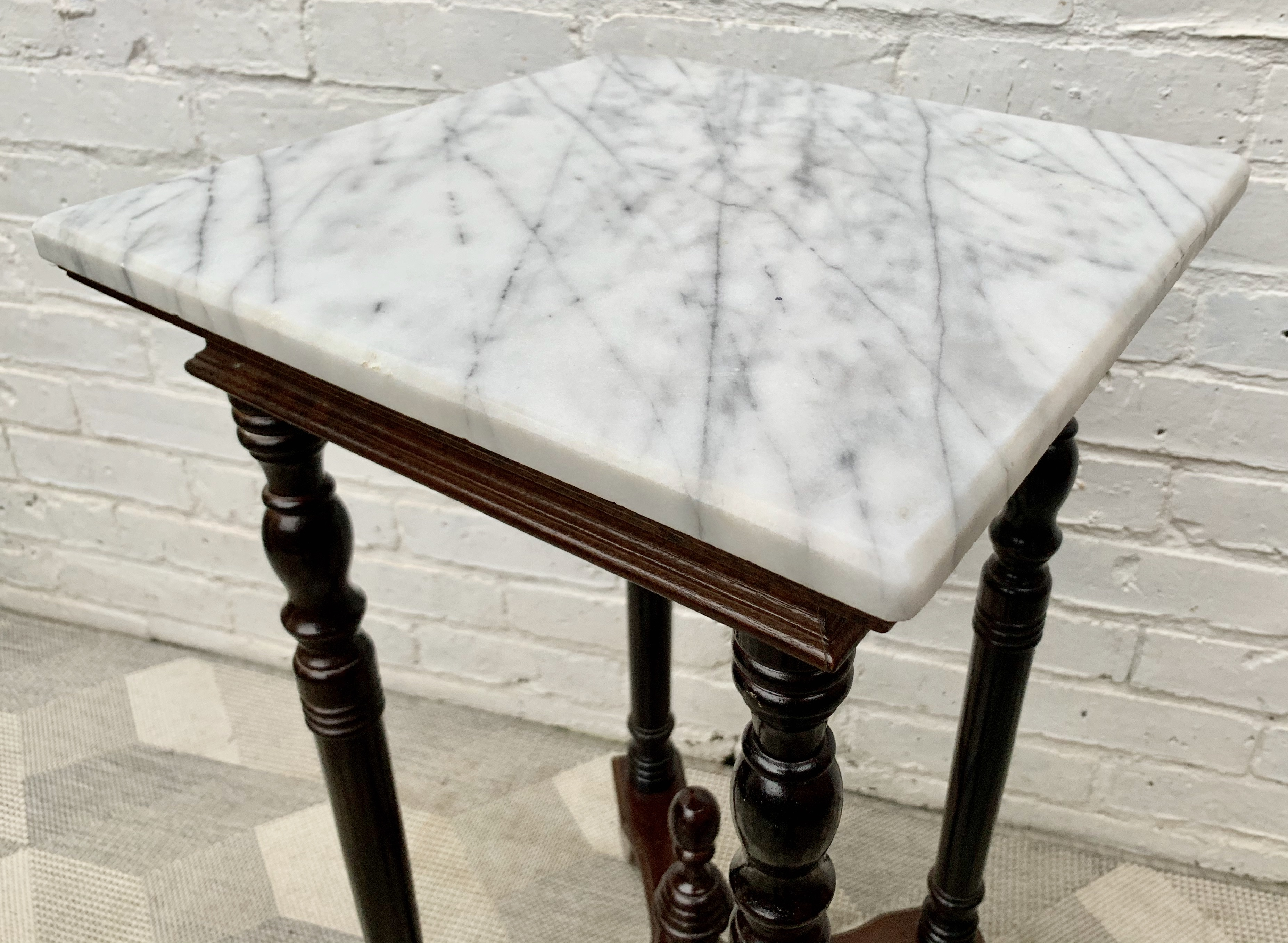 """Set of 4  Barber Shop 1/"""" Glass Marble With Stands"""