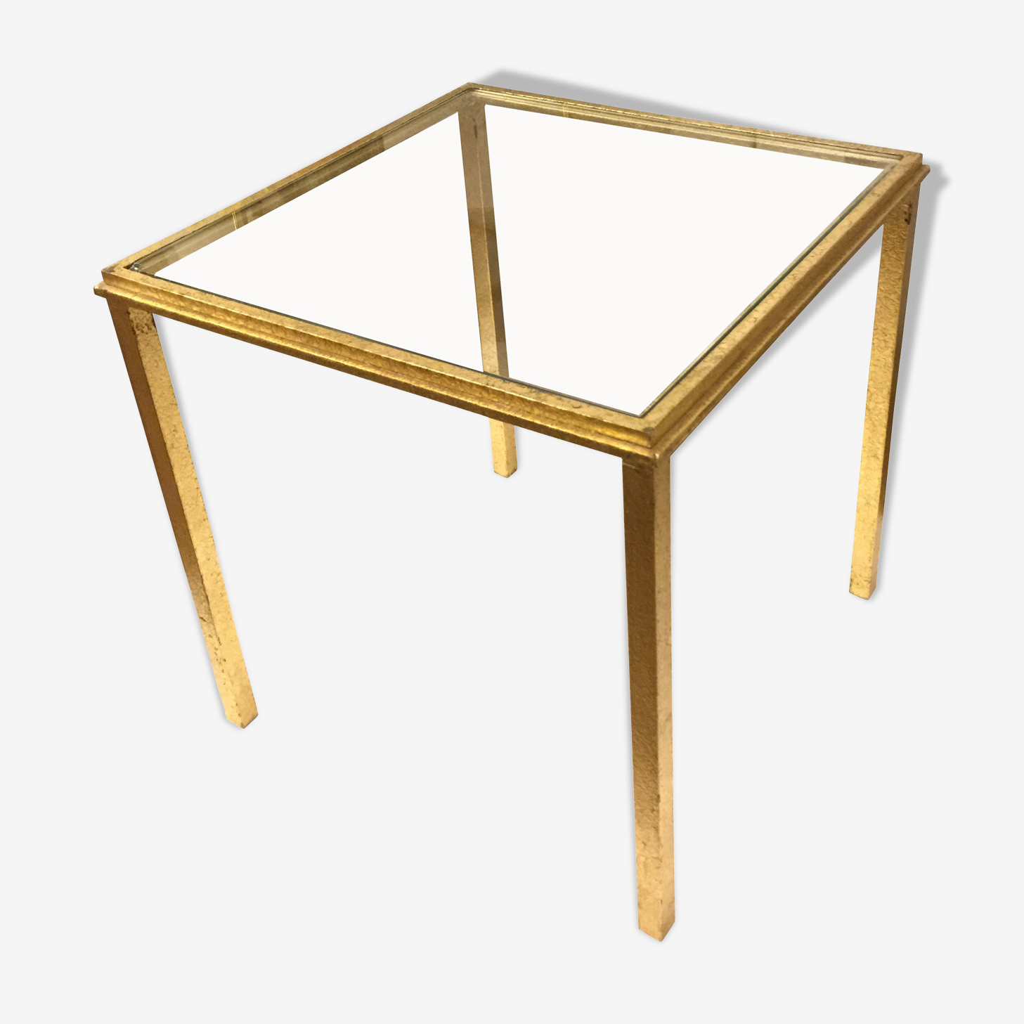 End table - small coffee table glass and gilded brass