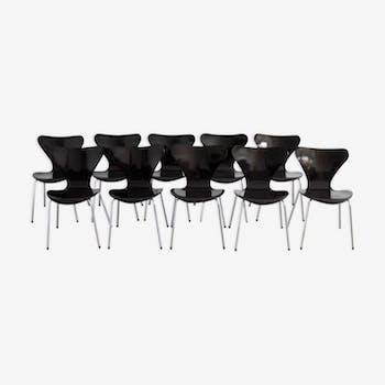 """Set de 10 chaises """"Papillon"""" série 3107 par Arne Jacobsen pour Fritz Hansen"""