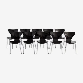 "Set of 10 chairs ""Butterfly"" series 3107 by Arne Jacobsen for Fritz Hansen"