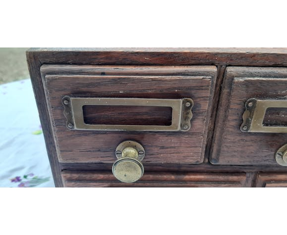 Furniture with drawers 1900 oak and brass