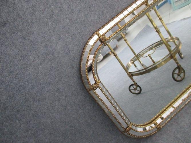 Miroir a facettes et parcloses laiton 1930/1950 - 64x81cm