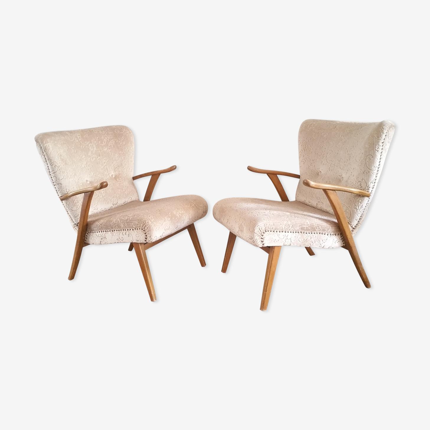 Lot de 2 fauteuils années 50 cocktail Wing chair Zig Zag Vintage restaurés
