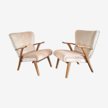 Lot de 2 fauteuils années 50 cocktail Wing chair Zig Zag Vintage restaurés