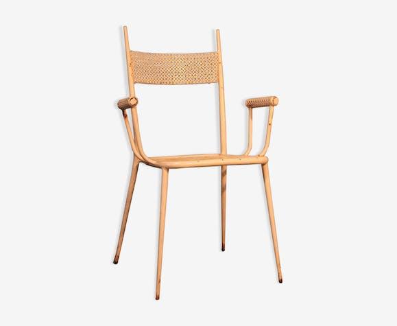 """Chaise de jardin """"Pointes"""" métal perforé 1950s"""
