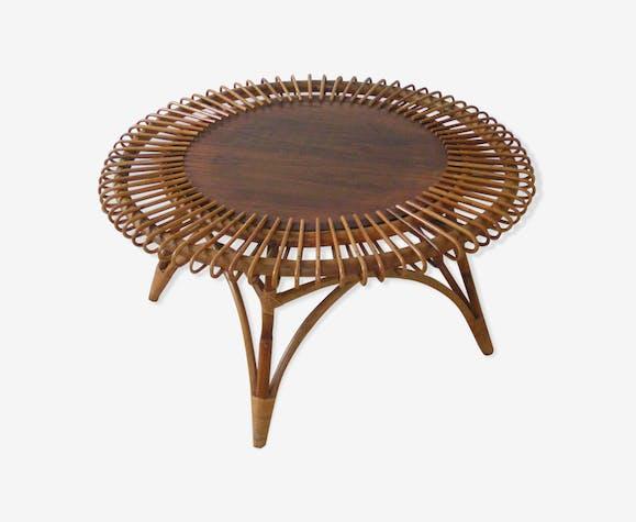 Table Basse En Rotin Ronde Modele Soleil Rotin Et Osier