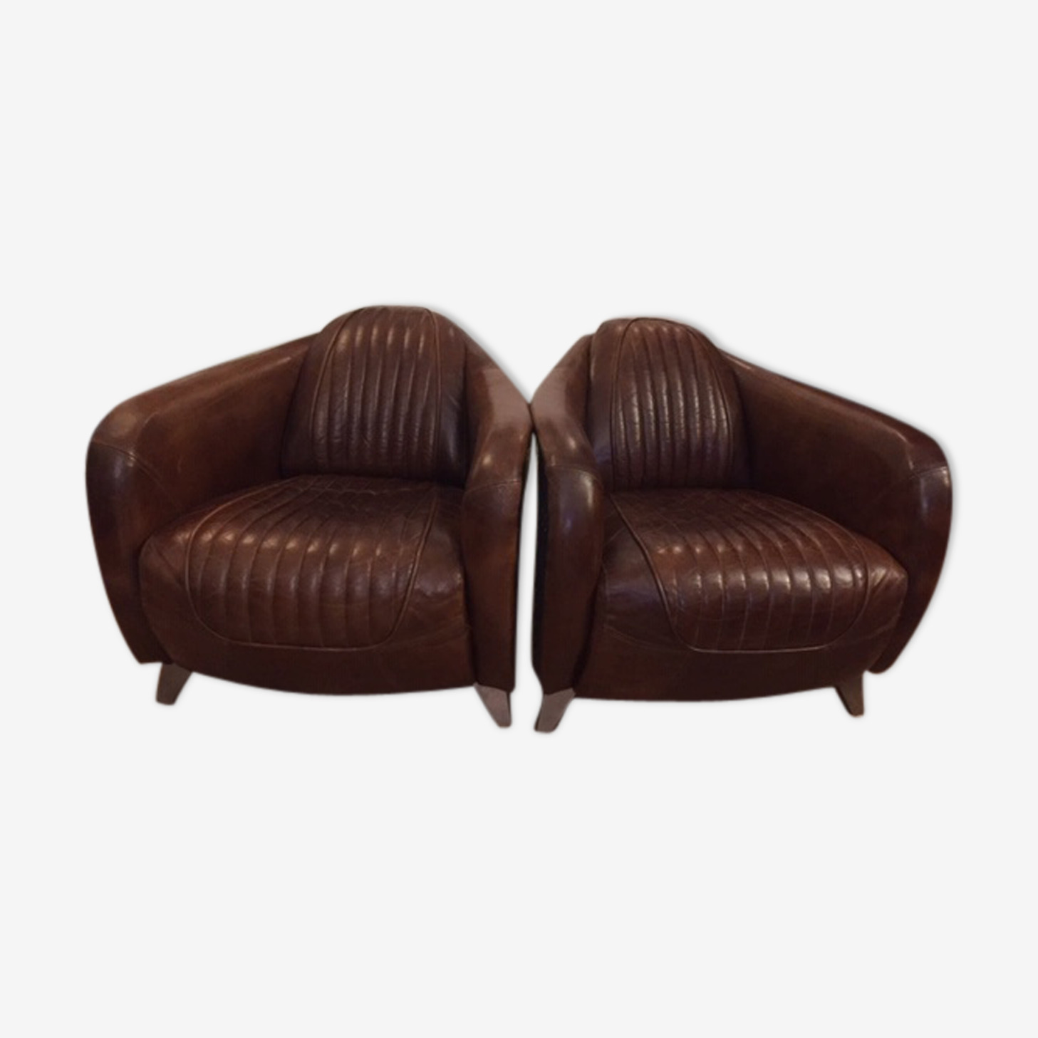 Armchairs leather riveted toad alu plane