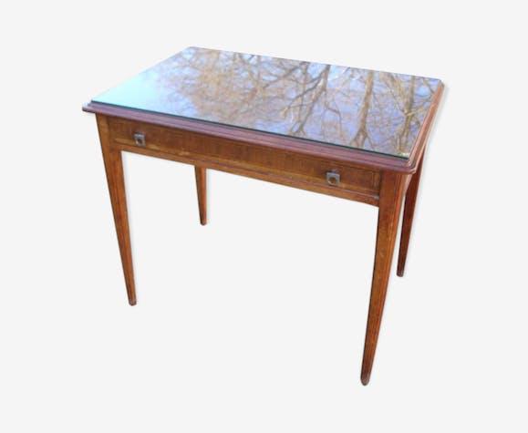 Ancien bureau 1 tiroir, bois massif  plateau bois avec verre de protection