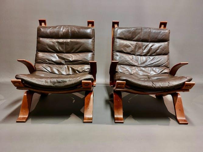 Fauteuil cuir scandinave 1960 estampille Bramin