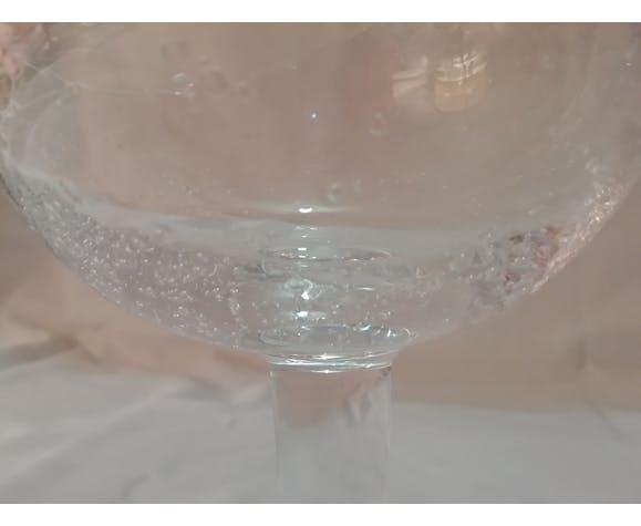Biot signé, paire de coupes à glace ou bonbonnières en verre bullé