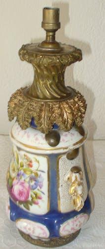 Lampe en faience et bronze