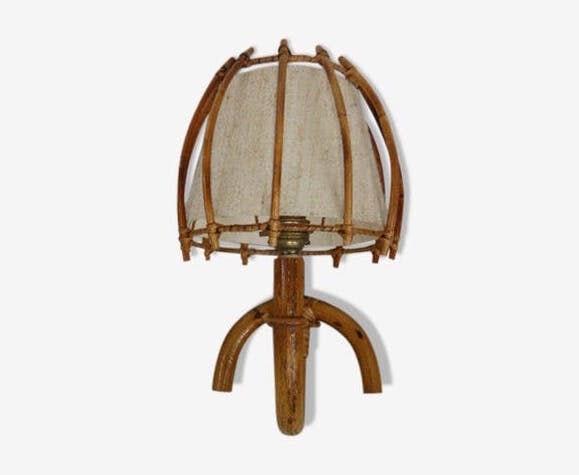 Applique en bambou et rotin, abat jour en tissus vintage 1960/70