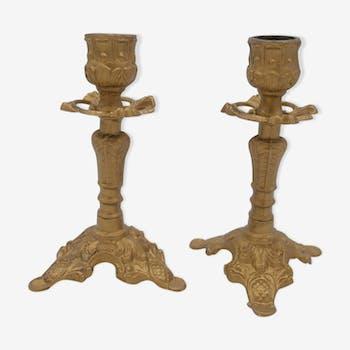 Golden brass candlestick pair