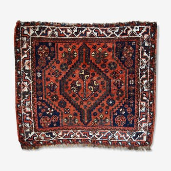 Tapis ancien collectable persam Shiraz visage de sac 88cm x 97cm 1930s