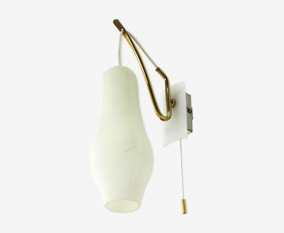 Wall lamp glass and brass 1950