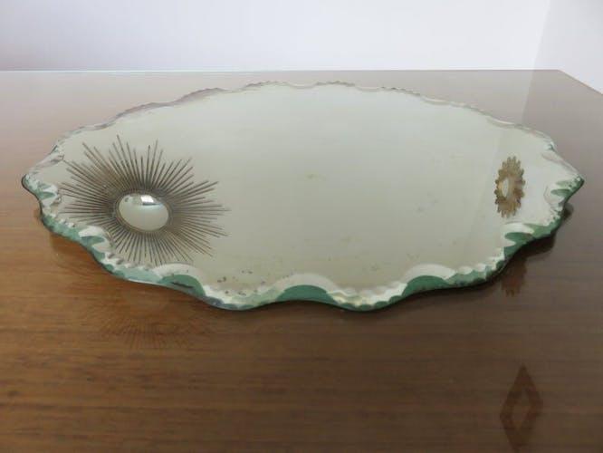 "Beveled mirror ""cloud"" years 30 40 38x29cm"