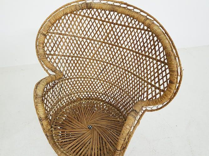 Ensemble de 2 chaises vintage de paon de rotin pour des enfants