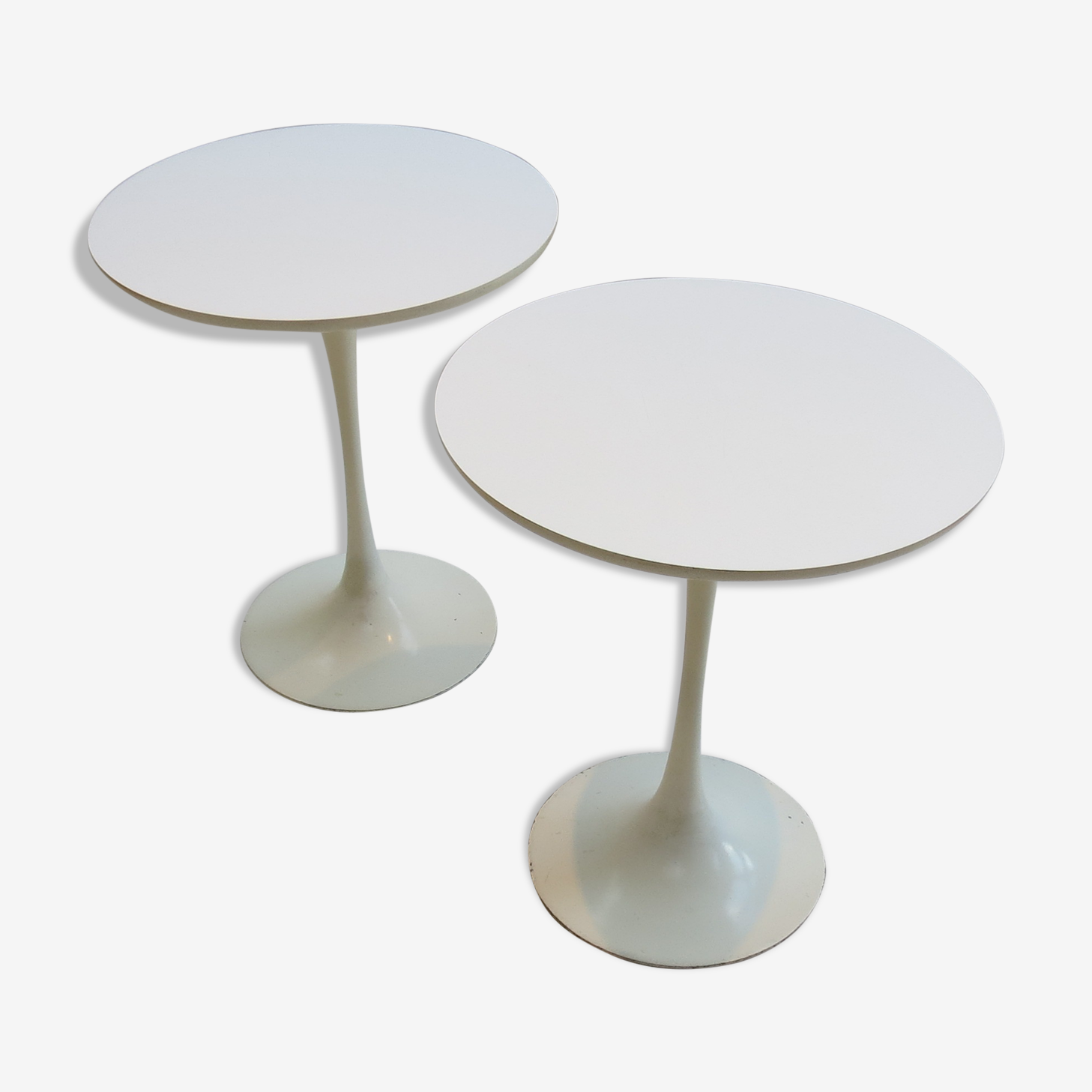 Pair of tulip side tables designed by Maurice Burke for Arkana 1960