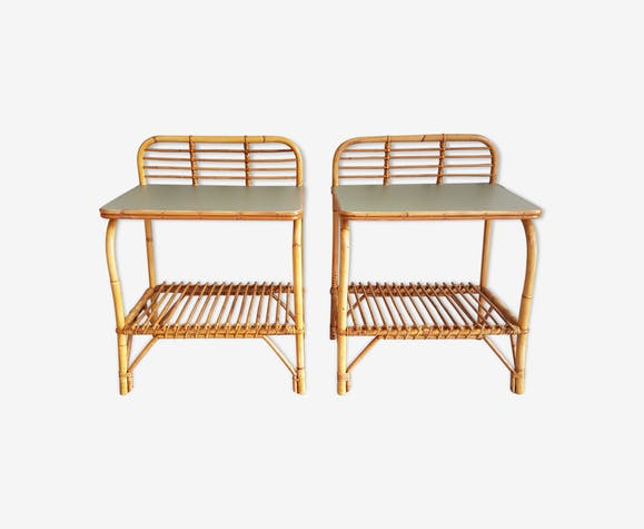 Pair of rattan bedside