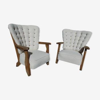 Paire de fauteuils rembourrés Guillerme et Chambron 1960