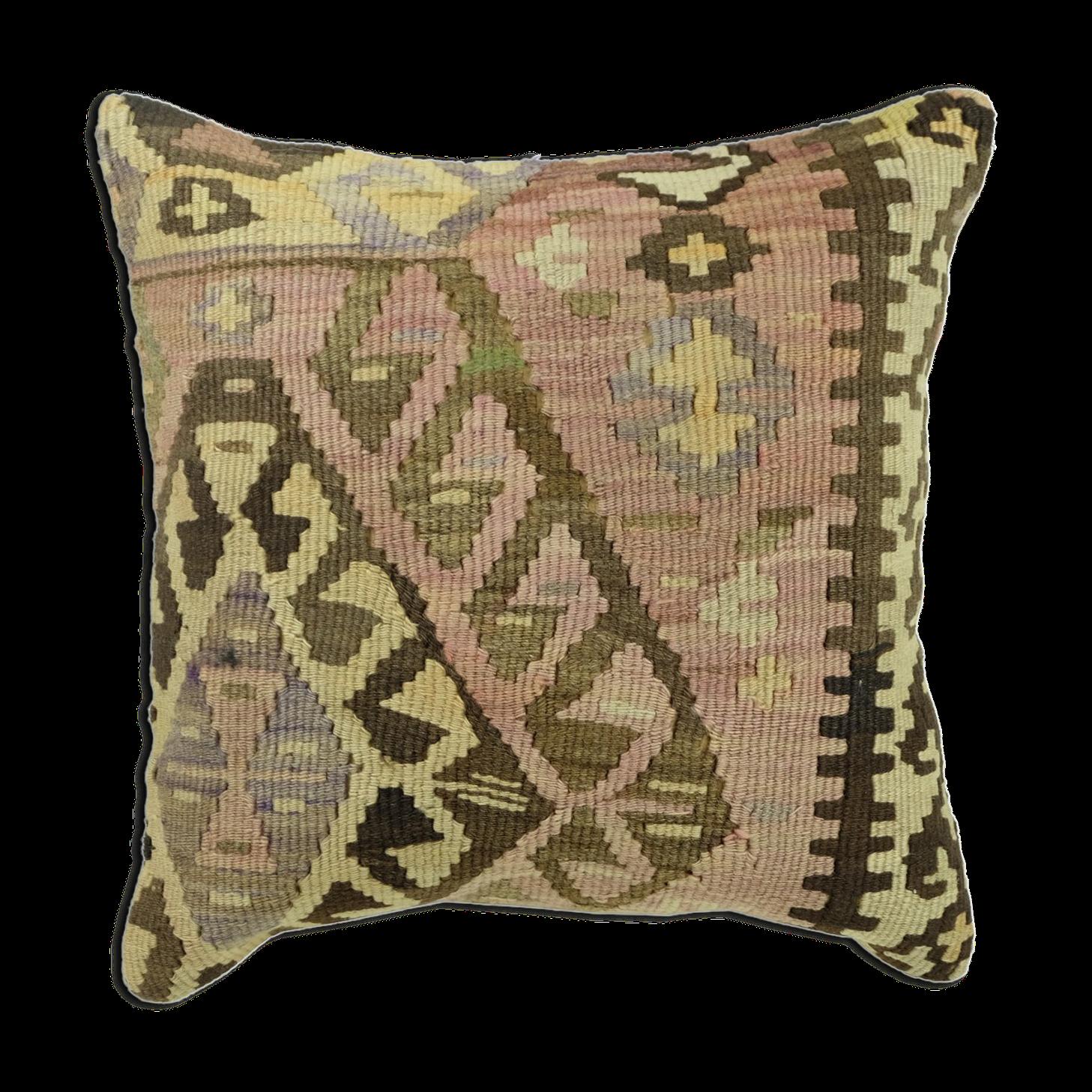 Housse de coussin ethnique vintage en kilim d'Anatolie