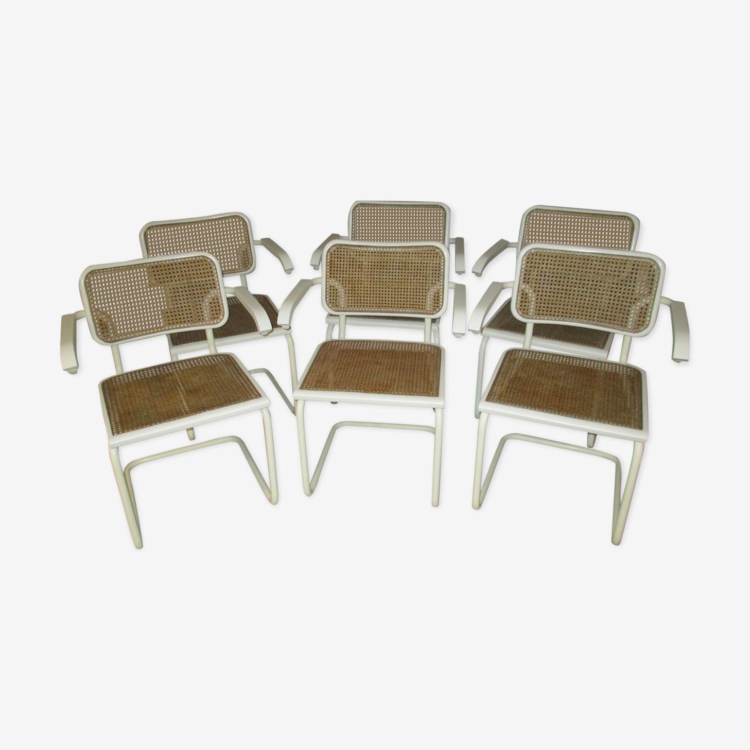 Suite 6 fauteuils cesca B64 par Marcel Breuer  1970