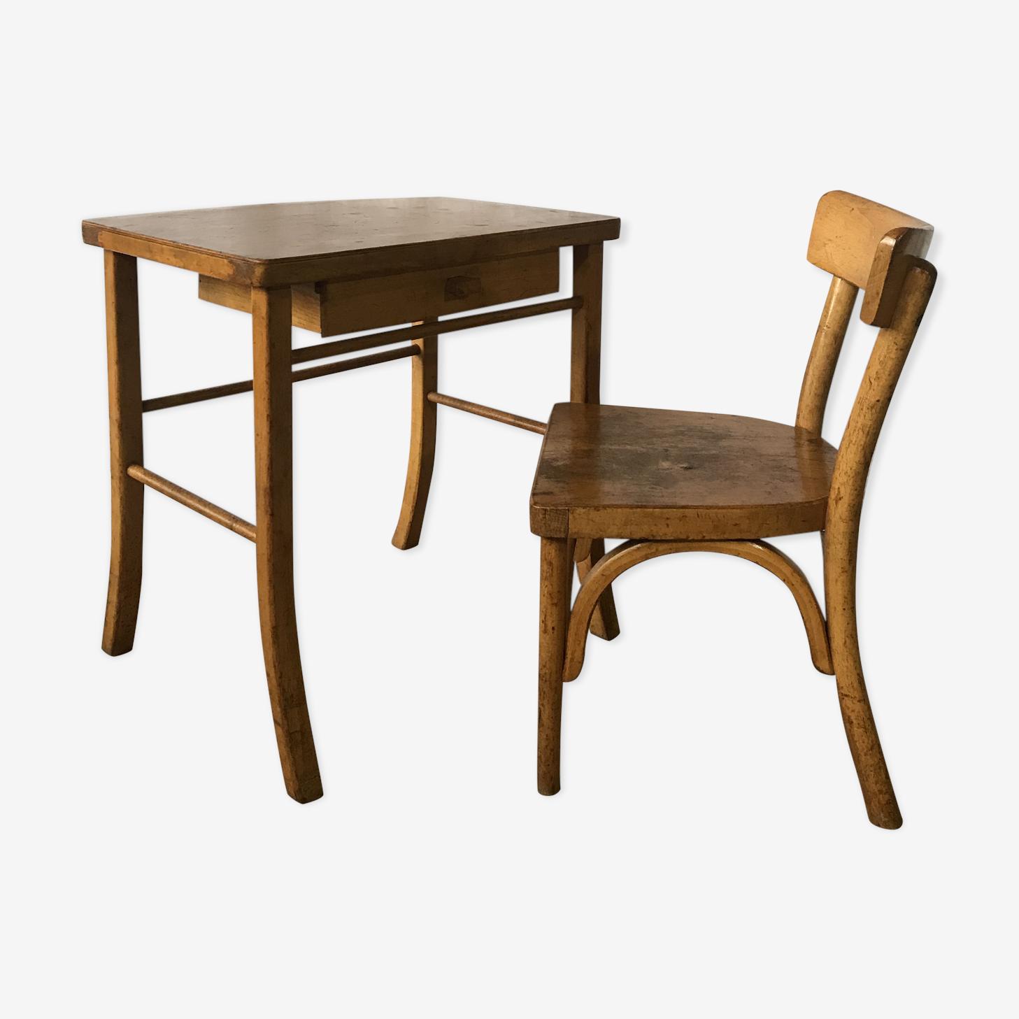 Bureau vintage enfant Baumann et sa chaise