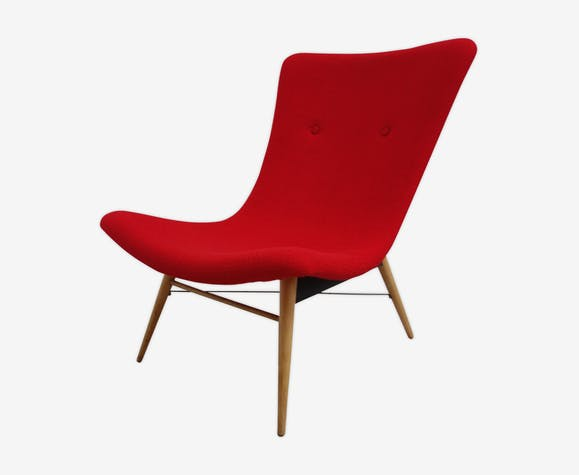 Miroslav Navratil chair in red 1960s Czech