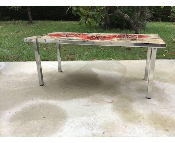 "Coffee table ""La grange"" Vallauris vintage ceramic mosaic"