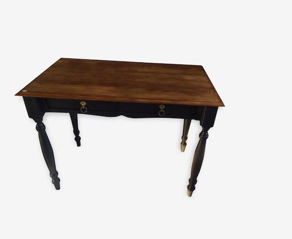 Bureau table en pin patiné gris ardoise plateau bois bois