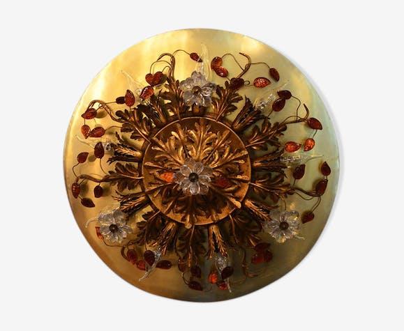 Applique en verre fleuri en verre de murano et laiton des années