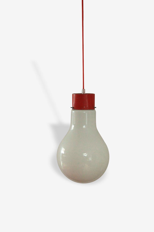 Lustre suspension ancien luminaire opaline forme ampoule