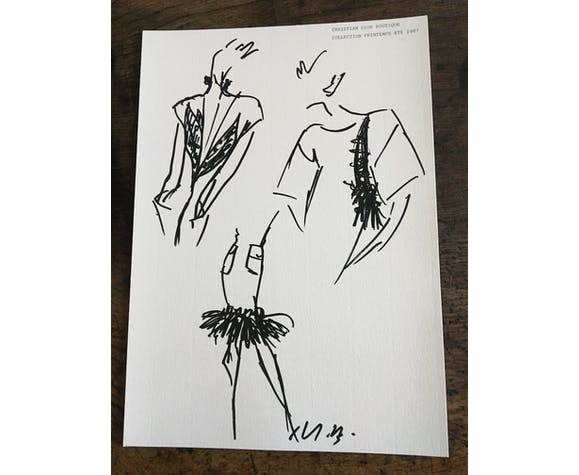 Illustration de mode de presse Christian Dior collection printemps-été 1987
