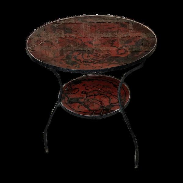 Table basse ronde ou table d'appoint en fer forgé plateaux de verre 1970