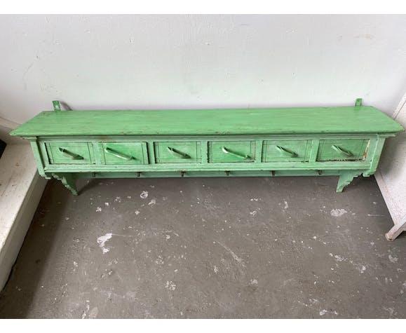Ancien porte-manteau en bois vert avec tiroirs