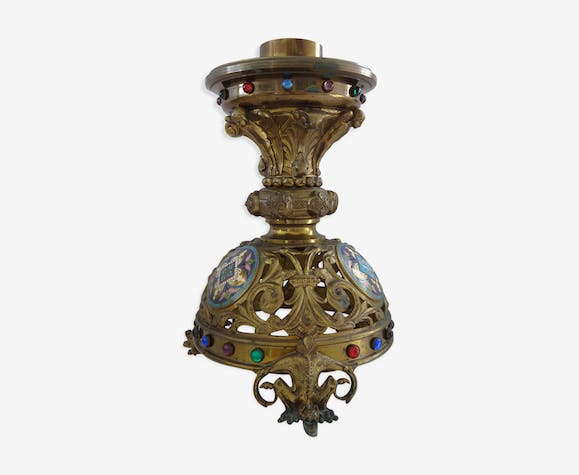 Bougeoir chandelier autel bougeoir bronze émaux 36cm eglise XIX