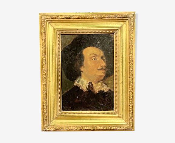 Huile sur panneau portrait d'homme au chapeau , école française XVIIIème