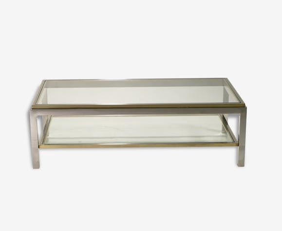 Table Basse Willy Rizzo Flaminia Années 70 Laiton Doré