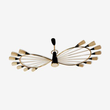 Chandelier Arlus mid century gold and black
