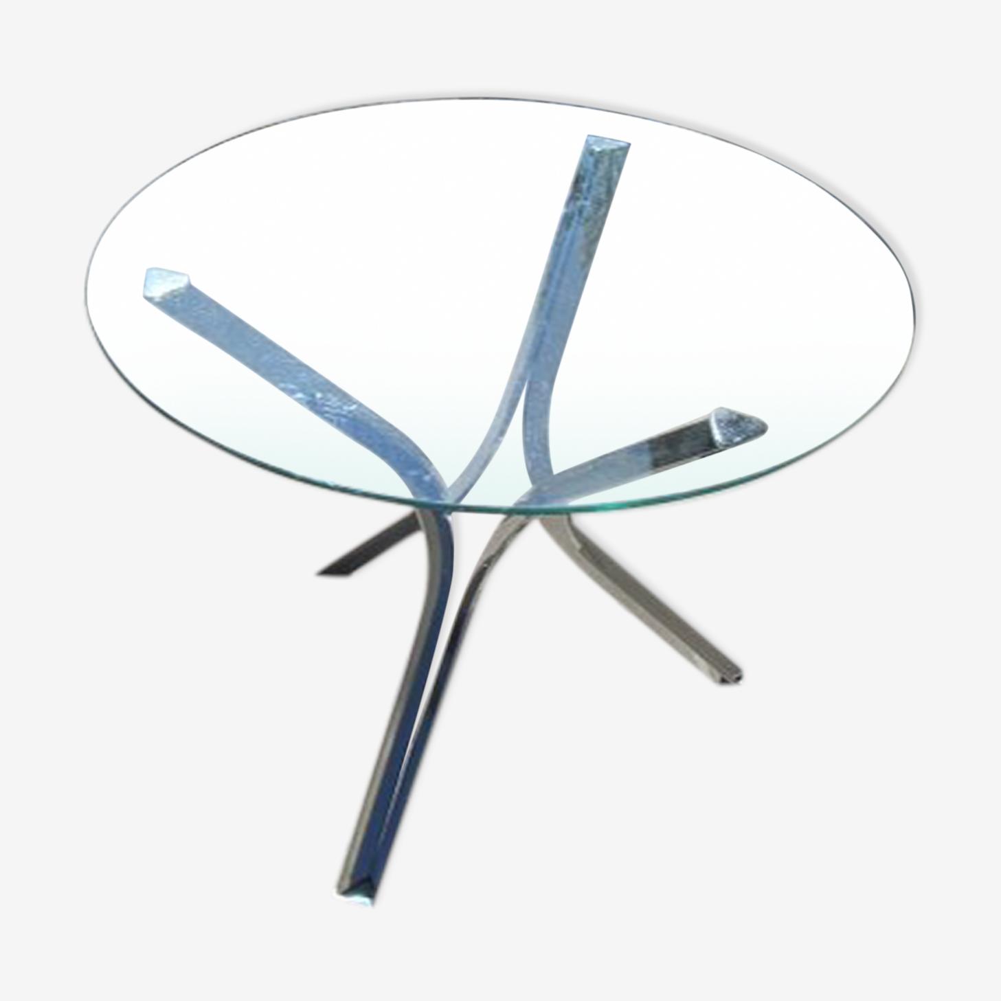 Table chromée et verre , vintage